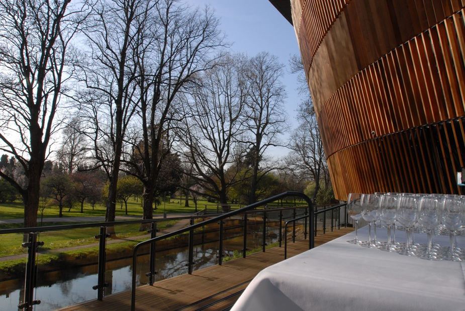 Drinks reception on terrace of Royal Welsh College of Music and Drama